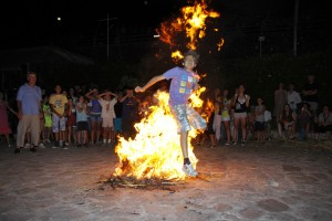 Klidonas - Fire jumping in Lefkonikos Square, Molyvos