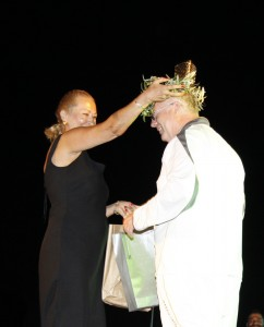 Thomas being presented with an Olive 'Victors Crown' by Apostolia Lykou