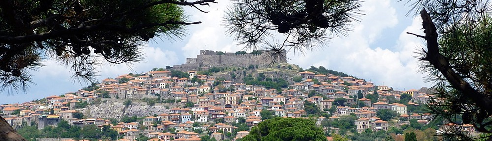 View of Molyvos Castle and village from the gardens of the Delfinia Hotel © Kay Allenby-Carr